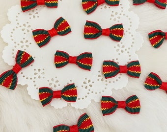 Mini Christmas Bows 12pcs, Red and Green Bows, Fabric Bowties for Craft, Small Bowties, Sewing Bows,Christmas Card Making,Assorted Bows