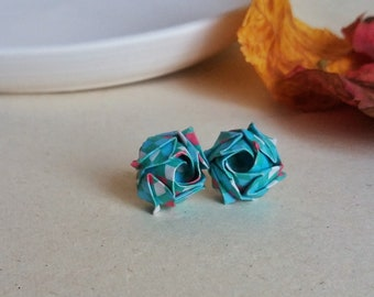 Stud japanese style earrings Cute gift for her Paper earlobe earrings Green rose Green origami paper with decorations Christmas under 30