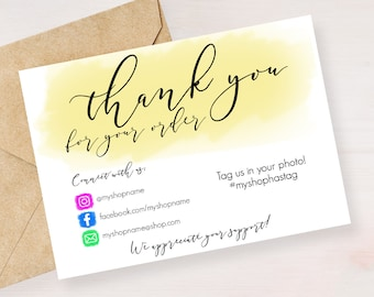 Instant Download Editable And Printable Thank You Cards For Etsy