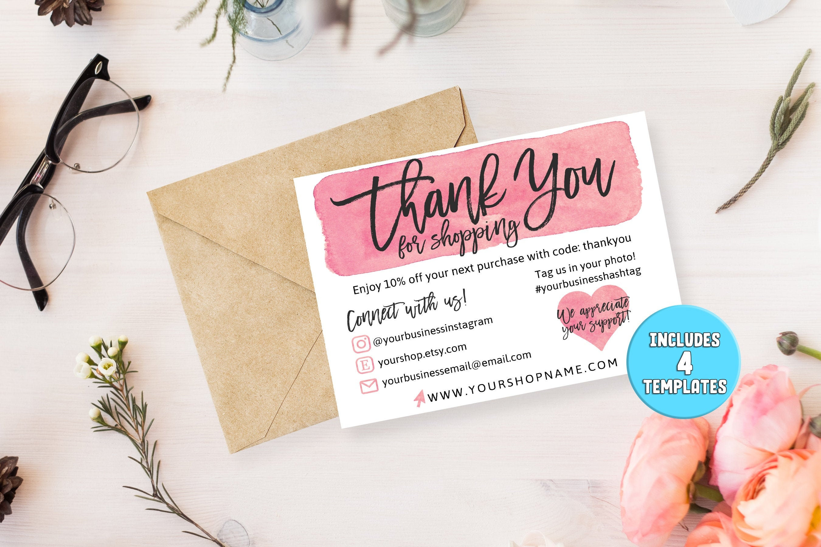 DIY Printable Thank You Card for Your Order   Small Business Card   Add  logo, Social Media Icons   Instagram, Poshmark, Etsy, Website, Email