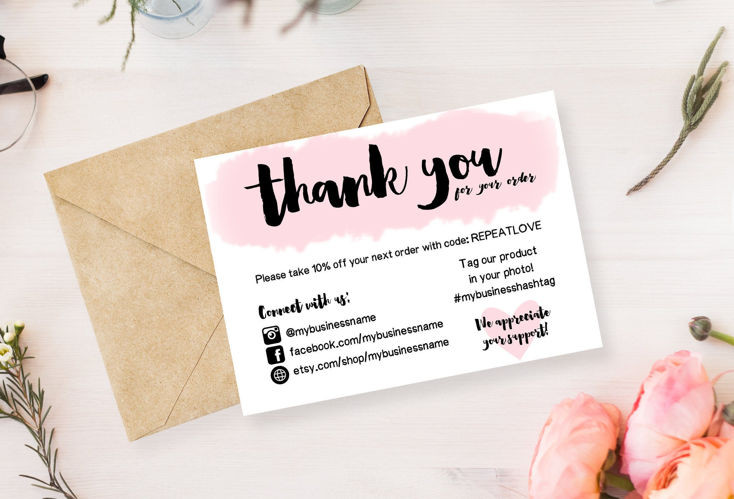 instant download editable and printable thank you cards
