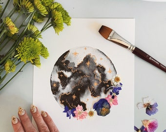"""EMBELLISHED PRINT: """"Viola Moonbeam""""   watercolor moon   with dried pressed flowers + gold foil"""