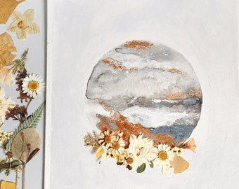 """EMBELLISHED PRINT: """"Neutral Moon"""" watercolor painting with pressed flowers and gold"""