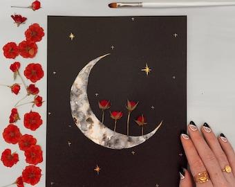 """EMBELLISHED PRINT: """"Crimson Rose Crescent""""   real pressed flowers   roses   gold foil  """