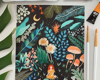 """EMBELLISHED PRINT: """"Jungle Shag"""" with gold foil + pressed flowers + red hair   customize the hair color or cut"""