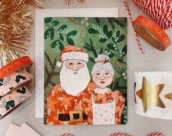 """CARD: """"Mr. + Mrs. Claus"""" holiday Christmas card"""