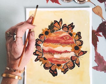 """EMBELLISHED PRINT: """"Monarchs + Jupiter""""   watercolor planet with pressed flowers and gold leafing"""