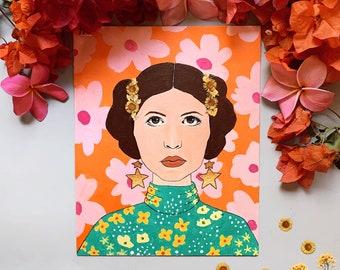 "PRINT: ""Princess Leia""   pressed flower painting   retro floral"