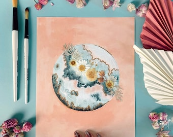 """EMBELLISHED PRINT: """"New Moon Bloom"""" Full Moon - watercolor, pressed flowers, gold foil"""