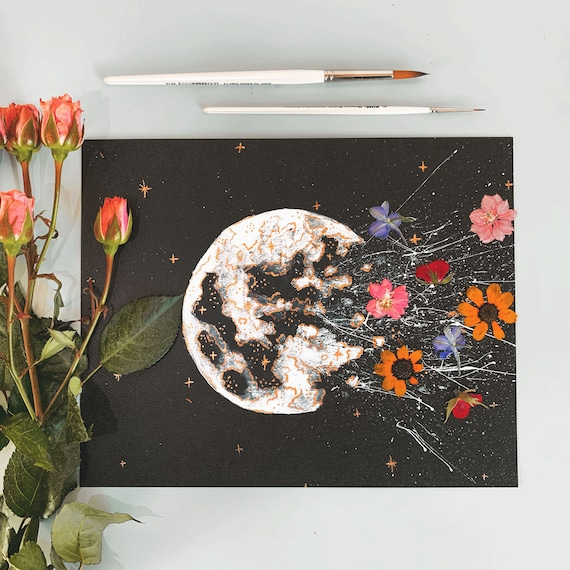 Enjoyable Print Wild Flower Power Watercolor Moon Gold Leaf Caraccident5 Cool Chair Designs And Ideas Caraccident5Info