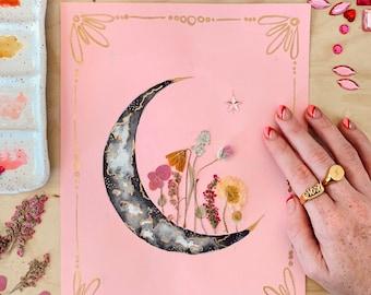 "EMBELLISHED PRINT: ""Sherbet Sky"" - watercolor moon, pressed flowers, gold leafing"