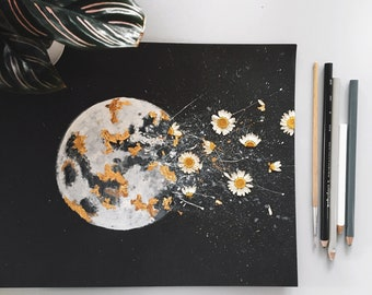 """EMBELLISHED PRINT: """"Dark Night Outburst""""   Moon Watercolor   with Gold Leaf + real pressed flowers   daisies"""