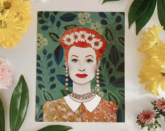 """PRINT: """"Lucille Ball"""" - pressed flowers + gold leaf + floral painting"""