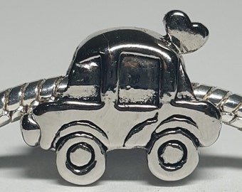 Silver Love Bug Car Charm for European Bracelets (item 078)