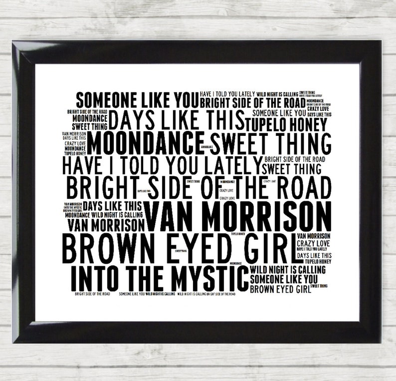VAN MORRISON Music Song Titles Lyrics Landscape Wall Art Print/Poster  Framed Home Decor Gift Brown Eyed Girl Have I Told You Lately