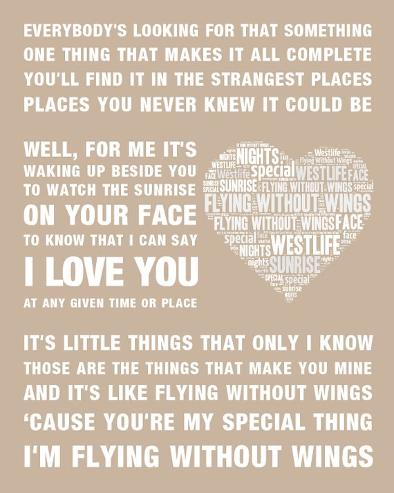 WESTLIFE Flying Without Wings Music Love Song Lyrics Wall Art Print/Poster  Home Decor Framed Picture Gift Free UK Postage