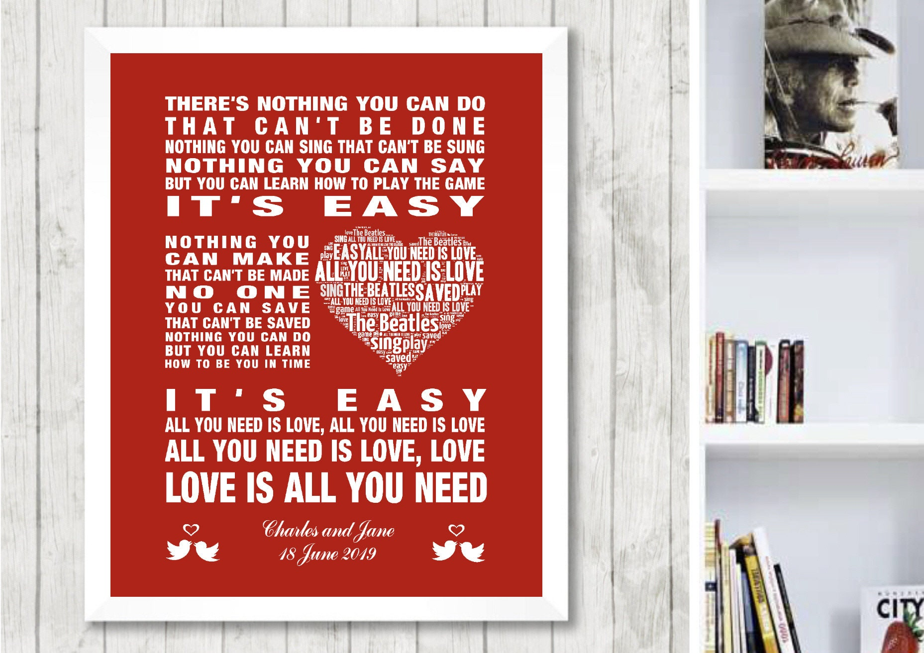 PERSONALISED The Beatles All You Need is Love Music Song Lyrics Art Print   Framed Wedding or Valentines Gift  Wall Poster  Free UK Postage