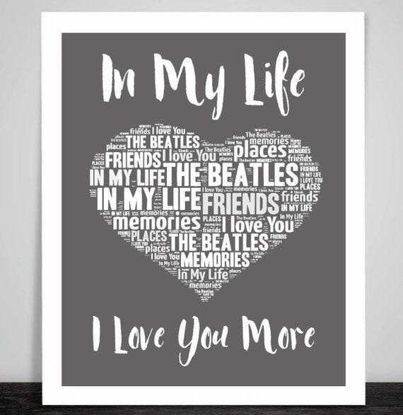 The Beatles In My Life Music Love Song Lyrics Heart Art Etsy
