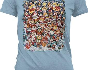 Santa Claws, Christmas Cats Juniors T-shirt, NOFO_00815
