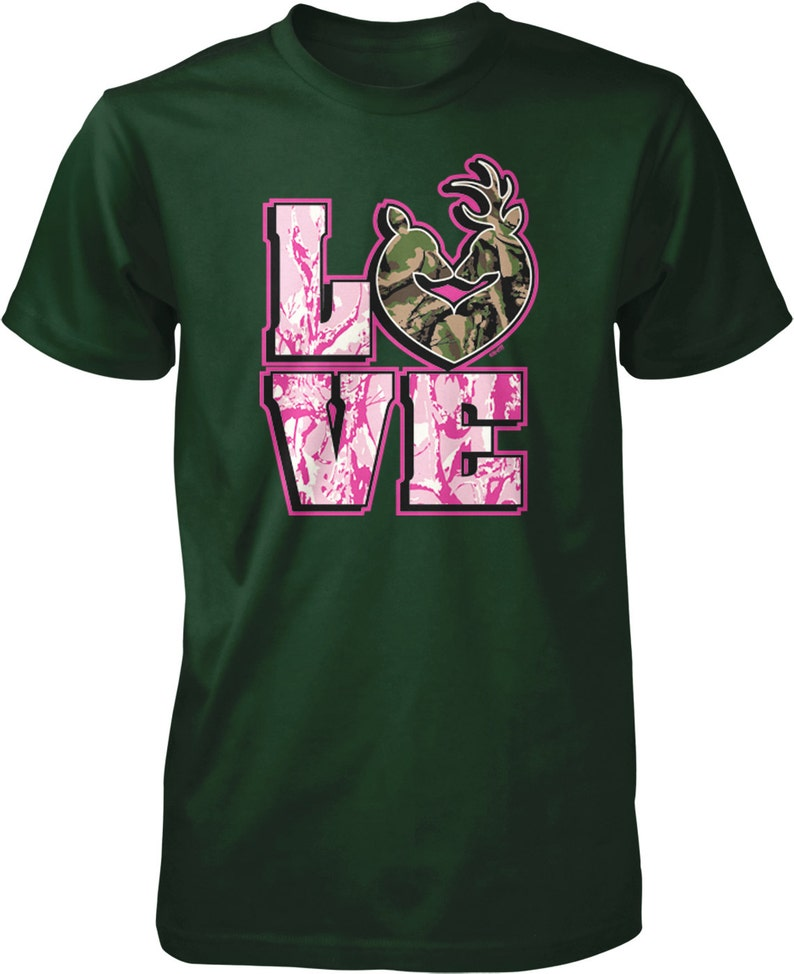 a888dbd391457 Love Hunting Camo Deer Couple Love Rack Men's T-shirt | Etsy