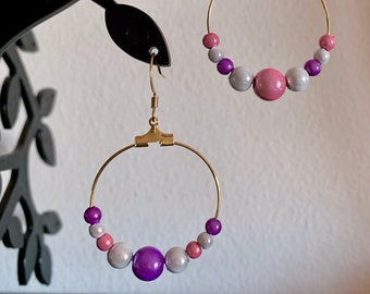 1959629ea French inspired dangle hoop earrings with pink, white & purple magic beads  and 24k gold finishing French hooks