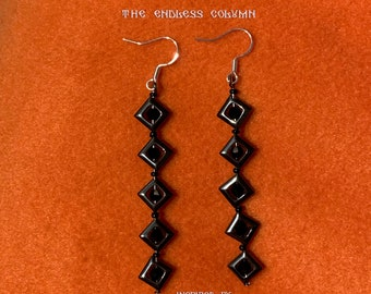 90818487b Constantin Brancusi The Endless Column inspired Earrings, Hematite and  Crystal Beads * Valentine's Day * Dragobete * Martisor * 8 March gift
