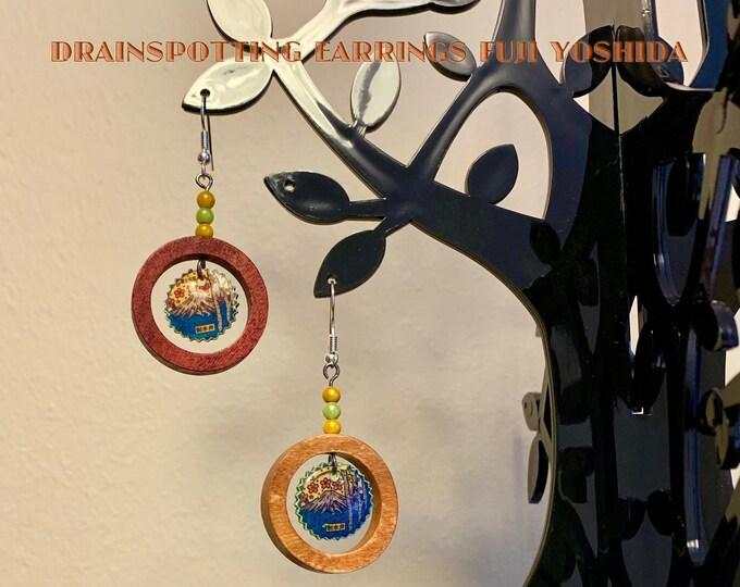 Featured listing image: Drainspotting earrings, Fuji Yoshida Manhole Cover, Japanese design inspired, industrial punk