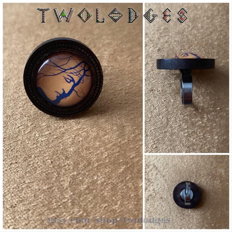 Valentine/'s Day gift M\u0103r\u021bi\u0219or Arborele Eminescu Mihai Eminescu wooden ring 2cm cabochon adjustable size March amulet Dragobete