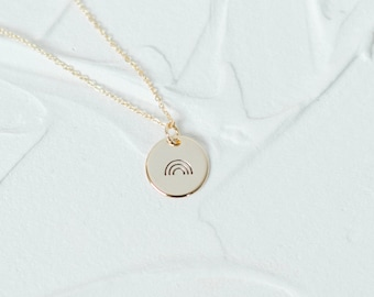 Rainbow Charm Necklace, Dainty Disc Necklace, Gold, Layering, Everyday Stamped, Simple, Cute Necklace, Gift for Her, Mom, Friend, Bridesmaid