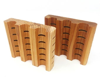 Cedar Wood Soap Dishes, Bulk Set of 12, Natural, Individually Wrapped, Displays for Soaps, Lip Balm, Craft Booths, Organization or Resale