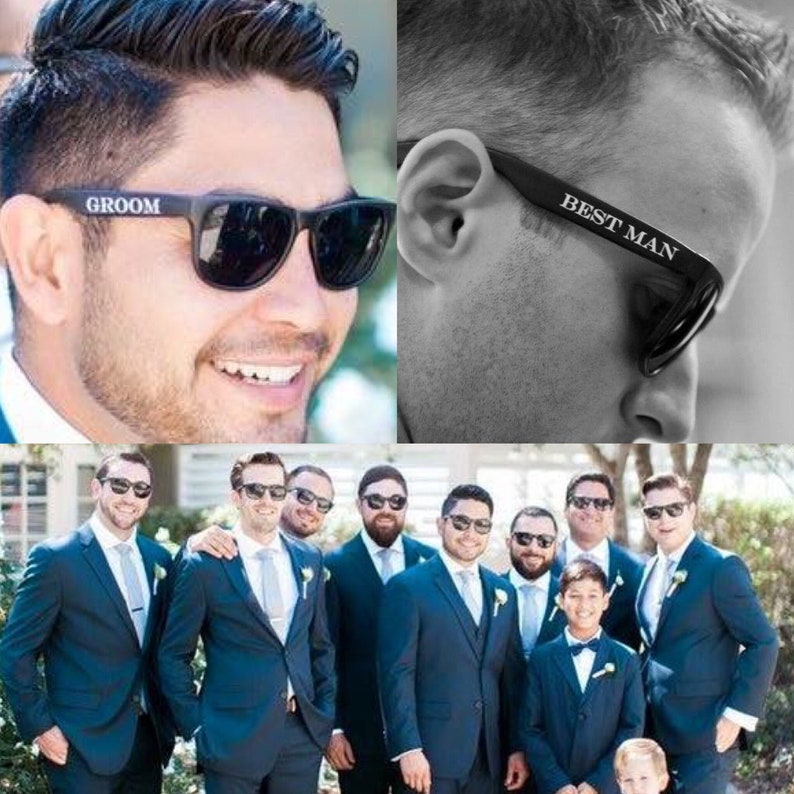 Printed Groomsmen Sunglasses Groom Best Man & Groomsman image 1