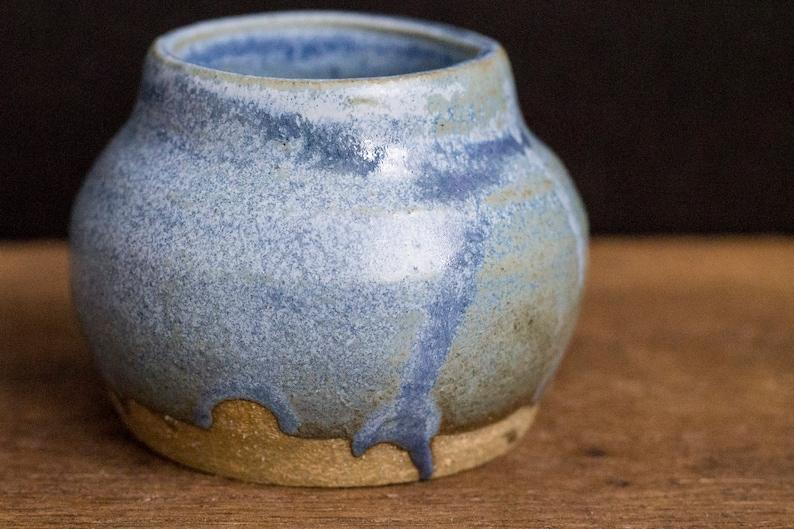 Handmade Small Blue Jewelry Spice Storage Jar