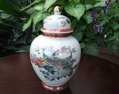 Small Satsuma Japan Ginger Jar, Chinoiserie, Peacock, Beige, Rust, Orange, Cobalt Blue, Ornate, Gilded, Urn, Vase, Decorative, Petite