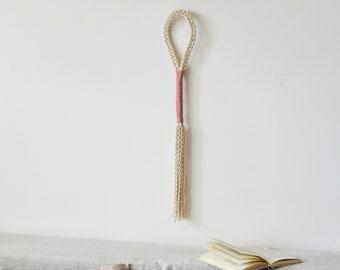 macrame knot wrap,wall hanging tassel, pink pastel wall hanging ,gift for women, beachy boho gallery wall, entryway wall decor, nursery art