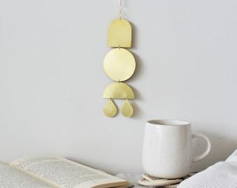 brass wall hanging, gold metal art, primitive geometric decor, celestial mobile, bohemian metal modern wall decor, minimal spiritual gift