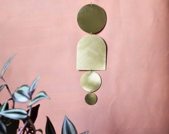brass wall art, midcentury modern brass hanging, geometric wall art, gallery wall bedroom, minimal golden metal sculpture, moroccan decor,