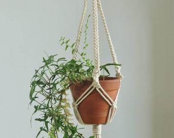 macrame plant hanger, indoor garden, plant pot holder, hanging planter, macrame pot hanger, modern macrame, cotton rope hanger, beige holder