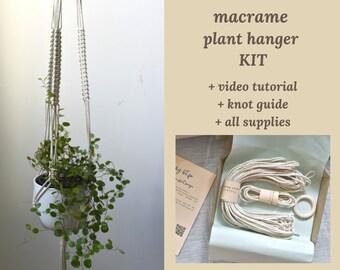 DIY macrame plant hanger KIT, hanging planter tutorial for beginners, beginner craft KIT with supplies, video pattern, macrame knot guide