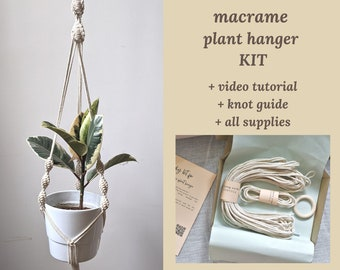 Macrame plant hanger KIT, PDF pattern tutorial for DIY planter with all supplies, video step by step instructions, knot guide for beginners