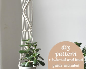 macrame PATTERN for DIY plant hanger, PDF tutorial with photos, easy for beginners, macrame planter, sunday fun craft idea, indoor plants