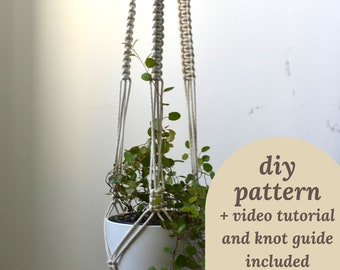 macrame how to pattern, DIY plant hanger, beginner macrame video tutorial, instant download PDF knot guide, digital pattern for macrame