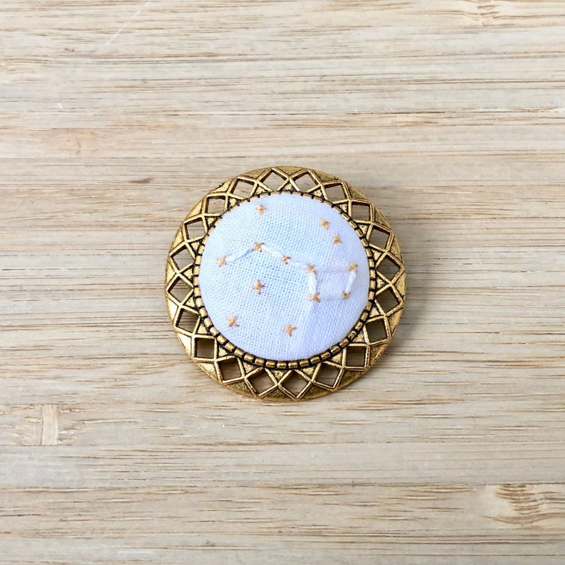 Big Dipper Handmade Embroidered Constellation and Stars BroachPinButton On Gold Frame