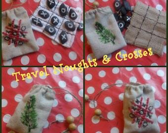 Handmade Travel Noughts & Crosses Game