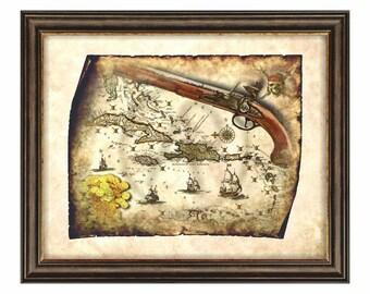 Tesoro mappa pirati dei caraibi pirata digitale vecchio - Pirata colorazione pirata stampabili ...