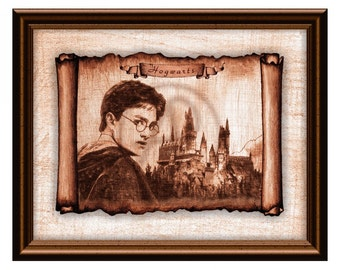 graphic regarding Hogwarts Portraits Printable referred to as Hogwarts Castle Rolls Parchment Harry Potter Artwork DecorHarry