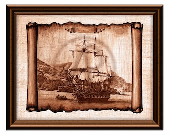 Pirate Ship of Treasure Island Parchment Decor Art,Ship Drawing,Ship Art Printable,Antique Ship,Decor,Wall Art,Instant Download