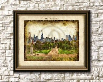 Melbourne Australia Watercolor,Art Print, Melbourne Skyline Poster,Wall Art,Melbourne Cityscape,Instant Download
