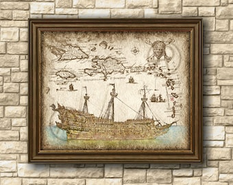 Flying Dutchman Pirate Ship Art Decor of Map, Pirate of the Caribbean Art Map,Pirates of the Caribbean Ship, Wall Art,Decor,Instant Download