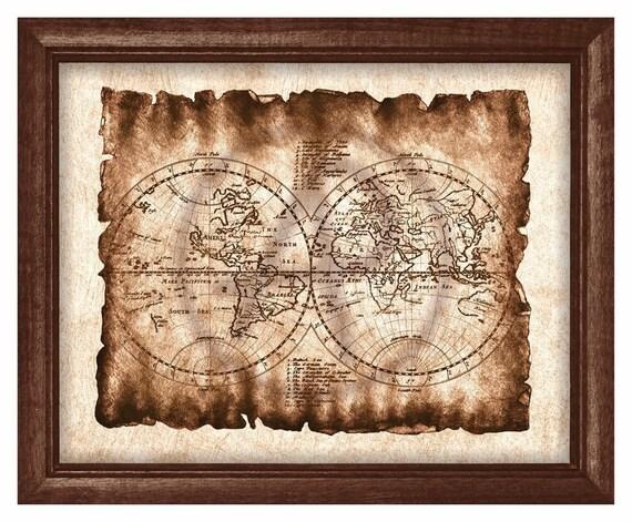Carte Du Monde Parchemin monde de l'art carte de vieux parchemin affiche art déco, ancienne carte,  carte du monde antique, monde carte imprimable de l'art, art mural,