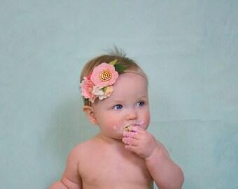Flower Crown, Dainty Floral Headband, blush, felt flower, first birthday hair accessories, baby headband, vanaguelite, baby accessories.